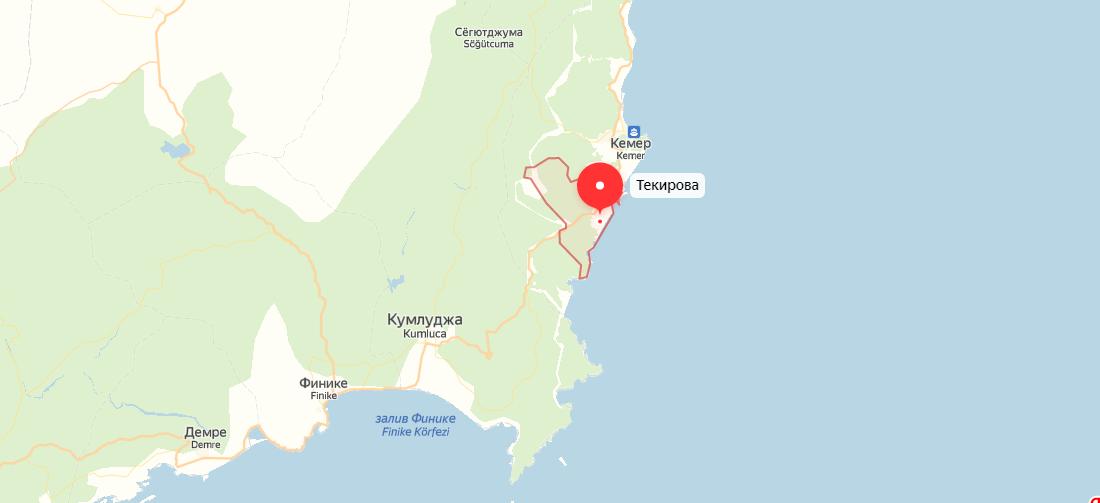 Текирова на карте